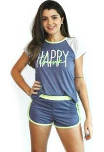 Pijama Baby Doll Verão De Calor Tecidos Leves Feminino - Feminino-Marinho