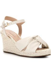 Sandália Anabela Shoestock Tiras Feminina - Feminino-Off White