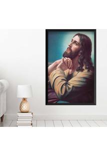 Quadro Love Decor Com Moldura Sagrado Jesus Preto Grande