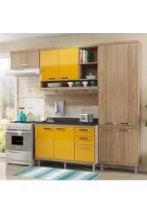 Cozinha Completa Multimóveis Com 6 Peças Sicília 5839 Argila/Amarelo