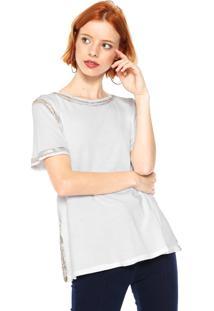 Camiseta Lança Perfume Detalhe Metalizado Branca