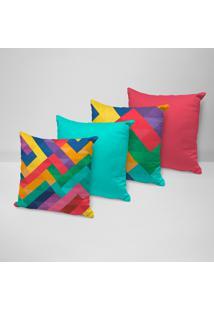 Kit 4 Capas Para Almofadas Decorativas Geométricos Coloridos