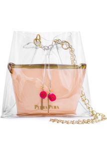 Bolsa Pedra Pura Barbicacho Pompom Feminina - Feminino-Rosa+Dourado