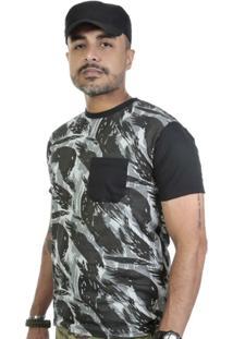 Camiseta Camuflada Com Bolso E Mangas Em Preto - Masculino