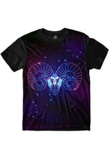 Camiseta Bsc Signos Ilustração Áries Sublimada Roxo - Masculino-Roxo