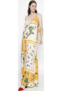 Vestido Longo Floral Com Seda - Off White & Amareloosklen