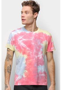 Camiseta Energia Natural Tie Dye - Unissex-Azul+Pink