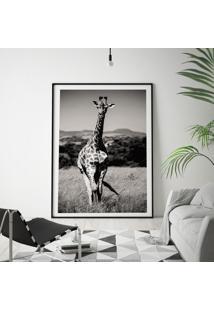Quadro Com Moldura Chanfrada Girafa Preto E Branco Grande - Multicolorido - Dafiti