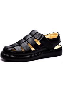 Sandália Couro Doctor Shoes Transpasse Preta