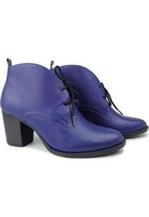 Bota Couro Dina Mirtz Casual Style Feminina - Feminino-Azul
