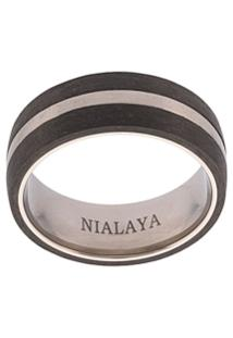 Nialaya Jewelry Anel Com Gravação - Preto