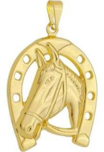 Pingente Cavalo Grande Folheado A Ouro 18K - Unissex-Dourado