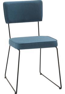 Cadeira Roma Aço Tecido Daf Azul Jeans