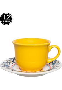 Conjunto 12 Pçs Xícaras De Chá 200Ml 15Cm La Pollera Colorido Daily