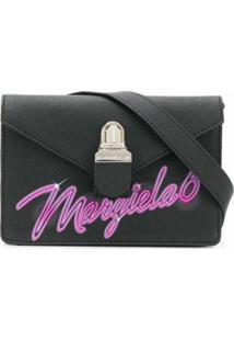 Mm6 Maison Margiela Bolsa Tiracolo Pequena Com Estampa De Logo - Preto