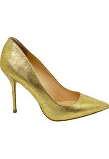 Scarpin Salto Alto Bico Fino Marjorie Dourado - Dourado - Feminino - Dafiti