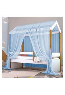 Cama Montessoriana Exclusiv Solteiro Com Voal Azul Casah