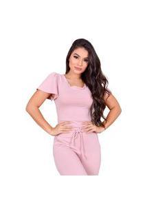 Blusa Miss Misses Moletinho Com Decote Canoa Rosa