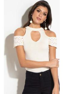 Body Quintess Off White Em Tricot