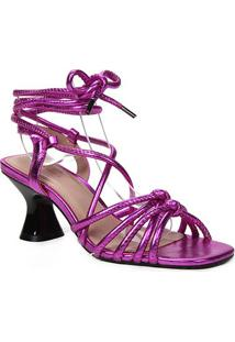 Sandália Couro Shoestock Salto Flare Metalizada Feminina - Feminino-Pink