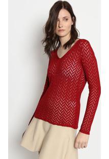 Blusa Em Tricã´- Vermelha- Ponto Aguiarponto Aguiar