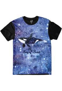 Camiseta Long Beach S Aquarela Orca Sublimada Masculina - Masculino-Azul+Preto