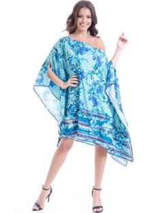 Kaftan 101 Resort Wear Vestido Plus Size Crepe Estampado Lenco Floral Verde