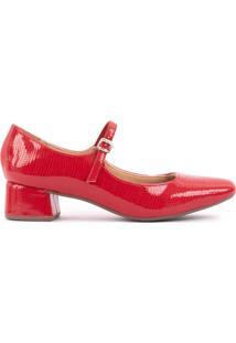 Sapato Boneca Salto Bloco 4Cm Croco Sintético Vermelho Cbk