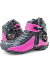 Bota Feminina Em Couro Ideal Para Andar De Moto Pink 271