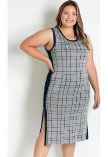 Vestido Midi Mescla E Marinho Plus Size