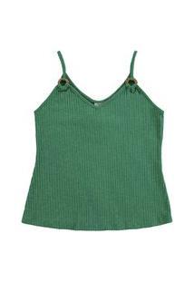 Blusa Lecimar Em Malha Canelada Alto Verão Verde