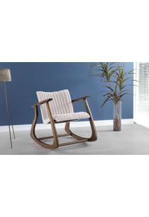 Cadeira Balanço Smith Metalassê 65X83X72Cm - Verniz Capuccino \ Tec.003 - Linen Soft Off White