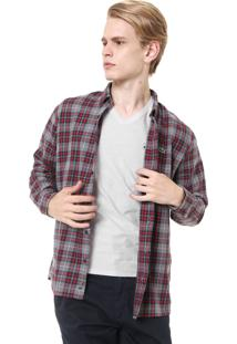 Camisa Lacoste Reta Xadrez Cinza/Vermelha