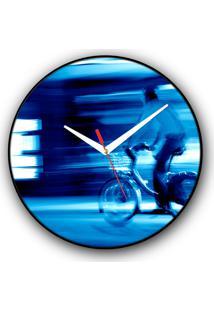 Relógio De Parede Colours Creative Photo Decor Decorativo, Criativo E Diferente - Ciclista Em Paris, Na França
