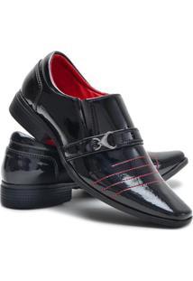 Sapato Social Couro Fivela Verniz Ruggero Masculino - Masculino-Preto