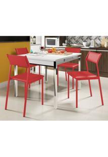 Mesa Extensível 1541 Branca Cromada Com 4 Cadeiras 1709 Vermelho Carraro