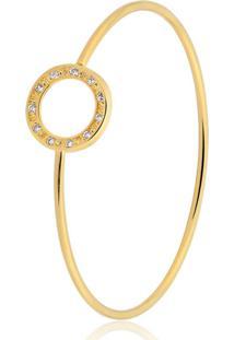 Pulseira Toque De Joia Bracelete Circulo Cravejado Dourado