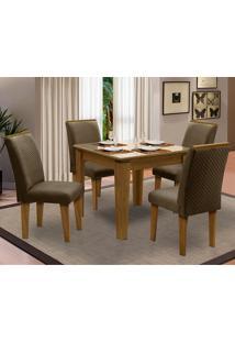 Sala De Jantar Saint Michel Com 4 Cadeiras – Dobuê Movelaria - Mell / Bege / Cacau