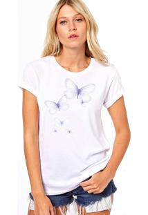 Camiseta Coolest Borboletas Lilas Branco
