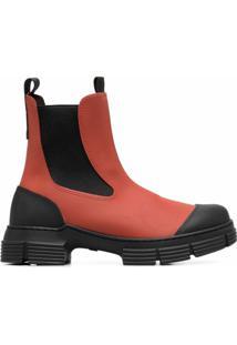 Ganni Ankle Boot Bicolor - Marrom