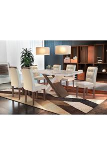 Conjunto De Mesa De Jantar Com 6 Cadeiras Imperatriz Veludo Creme Com Café E Off White