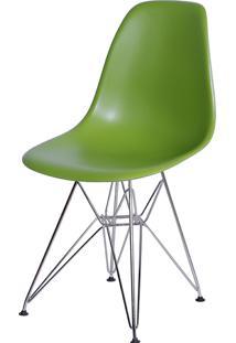 Cadeira Eames Dkr Or-1102 C/ Pés Cromados - Verde