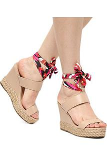 Sandália Plataforma Shoestock Lenço Corda Feminina - Feminino-Bege