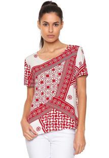 Blusa Lez A Lez Estampada Tuareg Branca Vermelha 65081183a61
