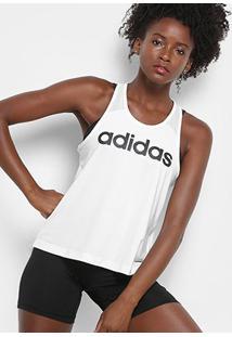Regata Adidas D2M Logo Tank Feminina - Feminino-Branco+Preto