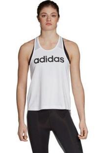 Camiseta Regata Adidas D2M Logo Tank Feminina - Feminino-Branco+Preto