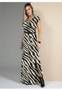 Vestido Zebra Com Decote Transpassado