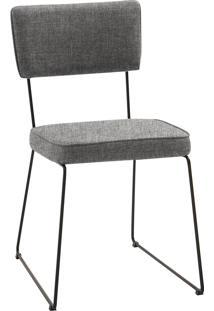 Cadeira Roma Aço Tecido Daf Cinza