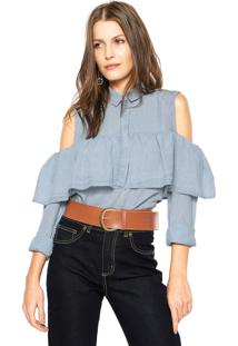 Camisa Jeans Triton Listras Azul