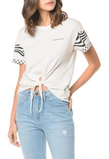 Blusa Ckj Fem Mc American Flag - Off White - Pp